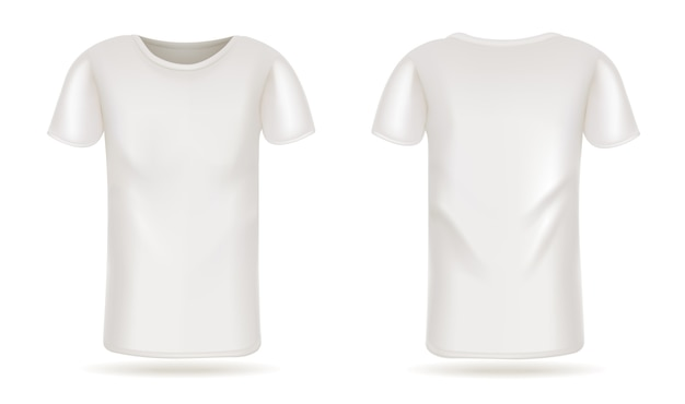 Template vector white t-shirt front and back view white