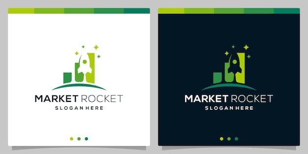 Template vektor ikon logo roket dan logo investasi keuangan. vector premium