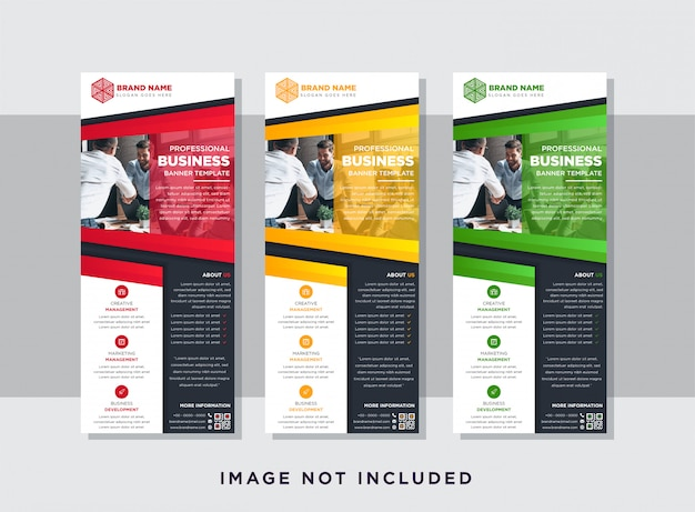 Template of vertical layout of roll up banner with rectangle elements for a photo. red, yellow, and green element design.