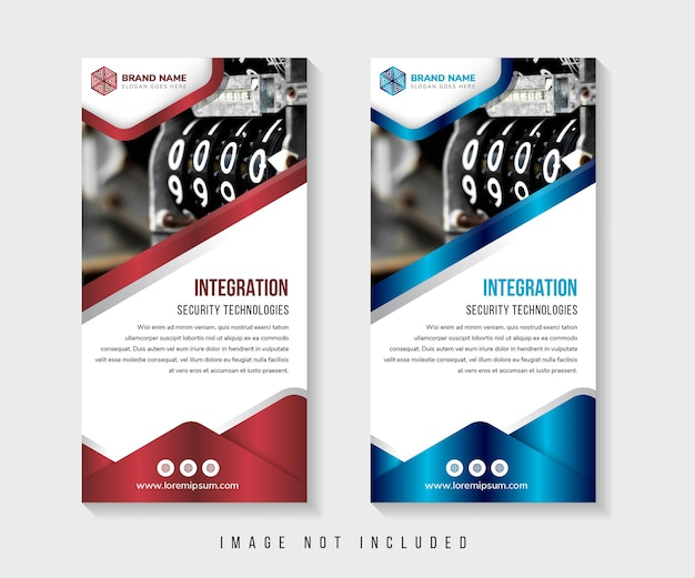 Template of vertical rollup banner with space for a photo collage on top white background