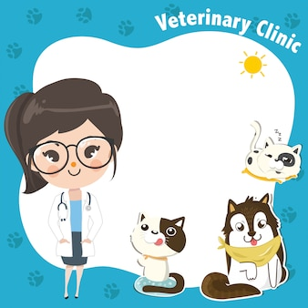 Template for a veterinary clinic with a doctor girl and pets.