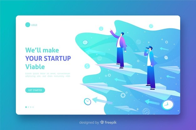 Template viable startup landing page