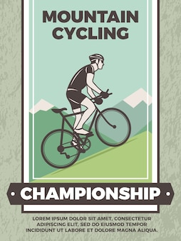 Template of vintage poster for bicycle club. mountain bicycle sport poster, bike championship