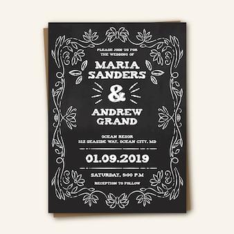 Template vintage wedding invitation