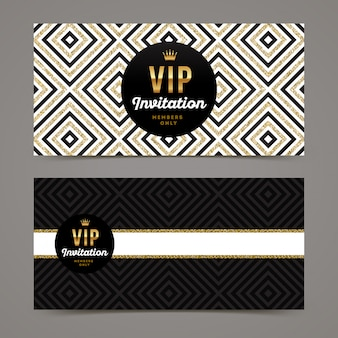 Template  for vip invitation with glitter gold geometric background.