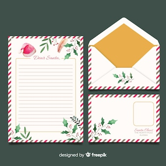 Template watercolor christmas stationery