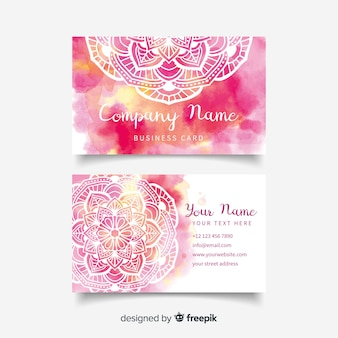 Template watercolor mandala business card