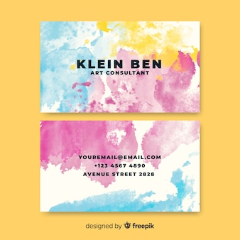 Template watercolor stains business card