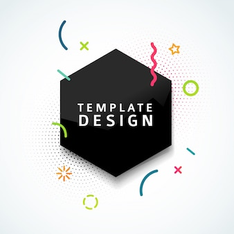 Template web banner with black geometric shape and particle in modern style. hexagon figure with abstract decoration element for business presentation. .