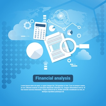 Template web banner with copy space financial analysis concept