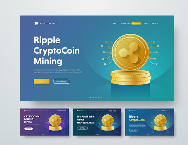 Template web header with gold piles of coins ripple and elements of microcircuits.