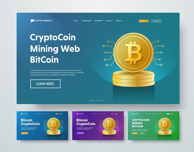 Bitcoin 동전의 금 스택과 마이크로 회로의 요소가있는 템플릿 웹 헤더. 프리미엄 벡터