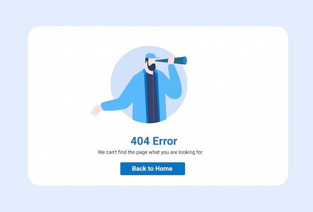 Template for web page with 404 illustration error.