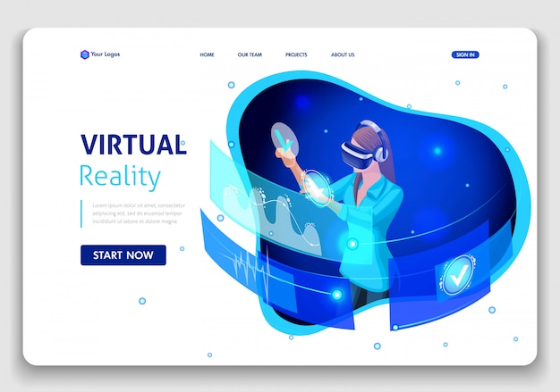 Template website business . isometric concept business woman work, augmented reality, time management. easy to edit and customize