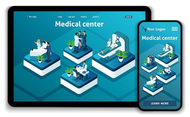 Template website isometric landing page concept medical center.doctor diagnosing patient in a hospital. easy to edit and customize, adaptive.