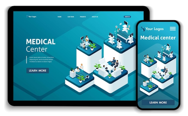 Template website isometric landing page concept medical center.doctor diagnosing patient in a hospital. easy to edit and customize, responsive.