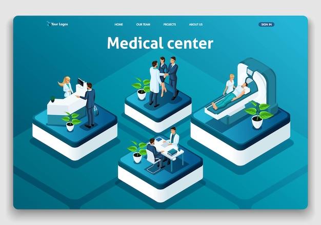 Шаблон веб-сайта изометрические концепция целевой страницы медицинский центр. врач диагностирует пациента в больнице. легко редактировать и настраивать.