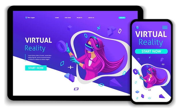 Template website isometric landing page concept vr virtual reality concept girl augmented glasses. easy to edit and customize, responsive.