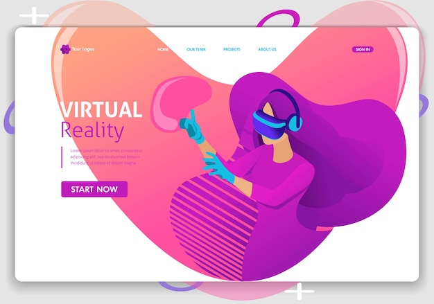 Template website isometric landing page concept vr virtual reality concept girl augmented glasses. easy to edit and customize