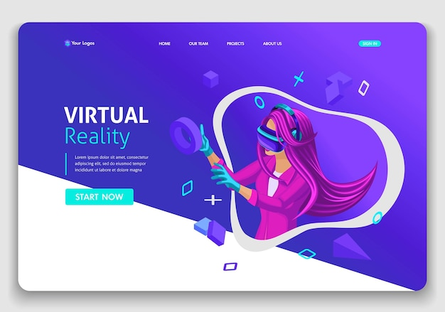 Template website isometric landing page concept vr virtual reality concept girl augmented glasses. easy to edit and customize.