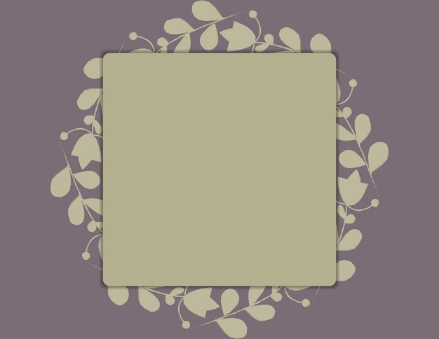 Template for wedding, card with frame and leafy frame