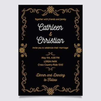 Template wedding invitation retro