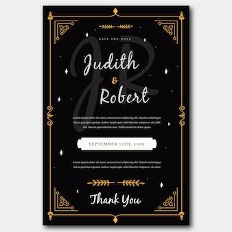 Template wedding invitation retro