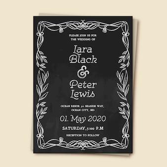Template wedding invitation vintage