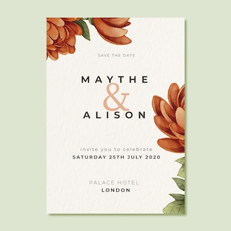 Template wedding invitation with big flower