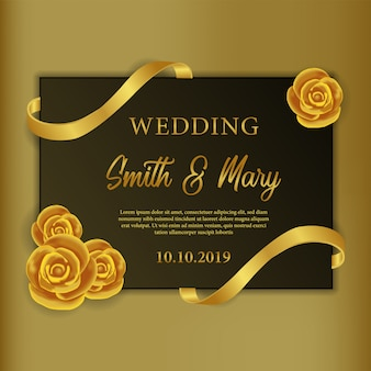 Template of wedding invitation with golden rose