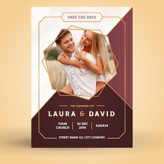 Template wedding invitation with image