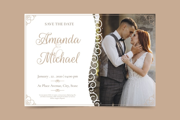 Template wedding invitation with photo