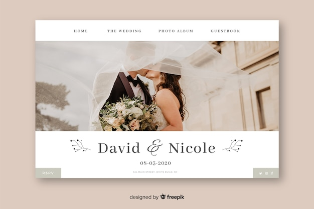 Template wedding landing page with photo