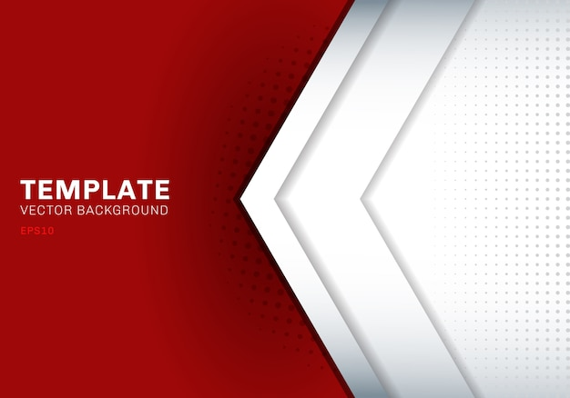 Template white arrow overlapping red background