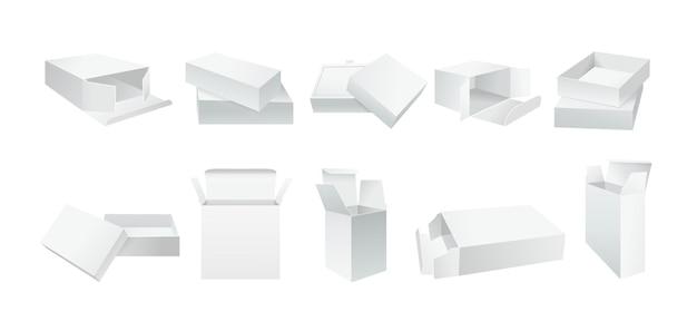 テンプレートホワイトボックスセット。空白の現実的な製品パッケージギフトボックスコレクション。開いた、閉じた紙のパッケージ。リアルな白いカートン段ボールアングル側。