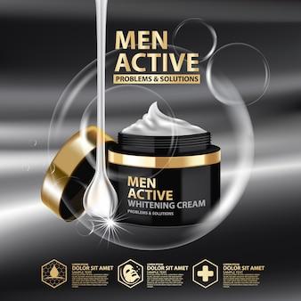 Шаблон дизайна упаковки отбеливающего крема для мужчин