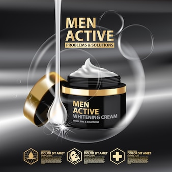 Template whitening cream package design for men