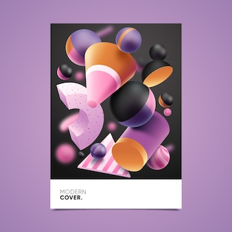 Template with 3d geometric shape for cover