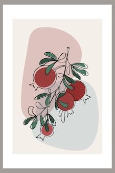잎이 있는 나뭇가지에 추상 구성과 석류가 있는 템플릿