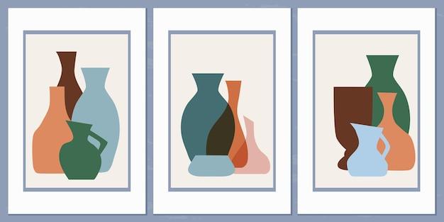 コラージュスタイルのシンプルな形のさまざまな花瓶と鉢の抽象的な構成を持つテンプレート