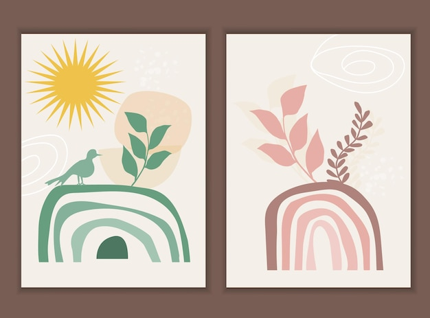 Template with abstract composition of rainbow and botanical boho elements