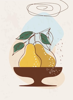 Template with an abstract composition of yellow pears in a vase in boho style