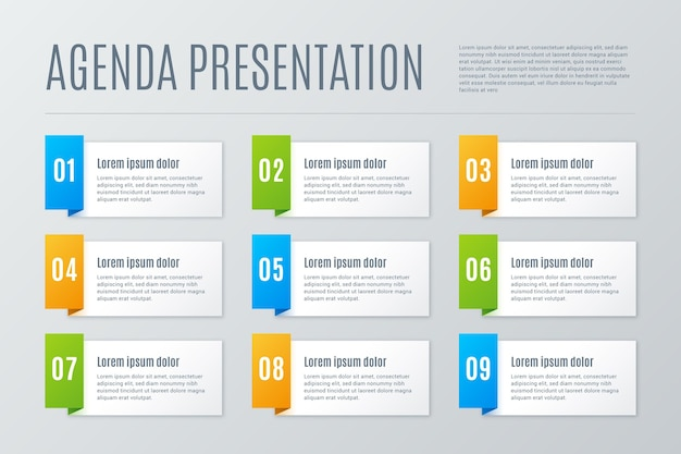 Template with agenda chart for infographic