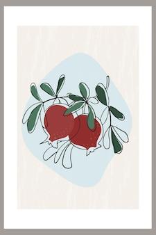 잎이 있는 나뭇가지에 석류 열매의 추상적인 구성이 있는 템플릿