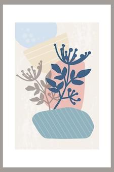 シンプルな形と自然の植物要素の抽象的な構成を持つテンプレート