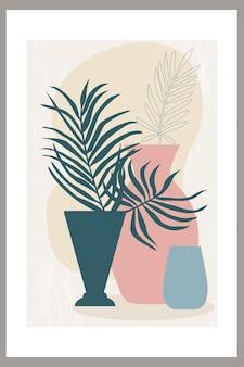 꽃병에 간단한 모양과 열대 야자수 잎의 추상적 구성이 있는 템플릿