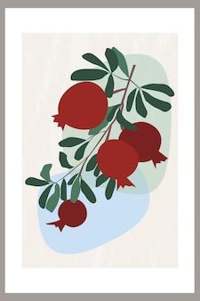 잎이 있는 나뭇가지에 추상 석류가 있는 템플릿