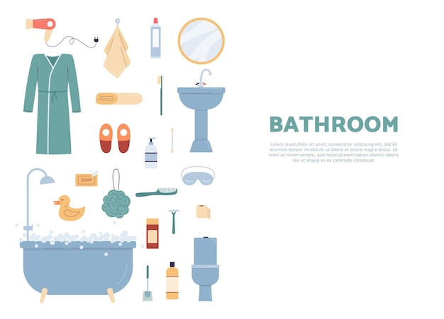 Template with bathroom furniture and sanitary engineering elements, flat