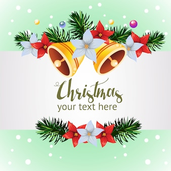 Template with bell decoration christmas