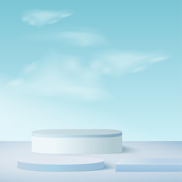Template with blue color geometric 3d sky podiums.